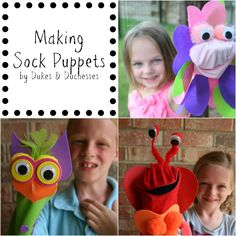 making sock puppets with kids// they used a kit, but just pinned as a reminder that these are also easy to make as an afternoon project w/kids