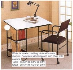 "WHITE LAMINATED DRAFTING TABLE AND ARM CHAIR by Cross Country Furniture. $119.00. STORAGE SHELVES. WITH LAMP. TABLE: 36""L x 24""W x 29""H ,CHAIR: 21""L x 17""W x 32""H. May Require Assembly. Brand New in Box. WHITE LAMINATED DRAFTING TABLE WITH METAL SHELVES AND ARM CHAIR"