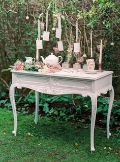 display table setting for tea for guests