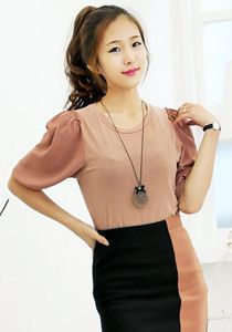 Chiffon-sleeved Knitted Blouse @ $39 SGD only! (Available in: Pink, Navy, Ivory)