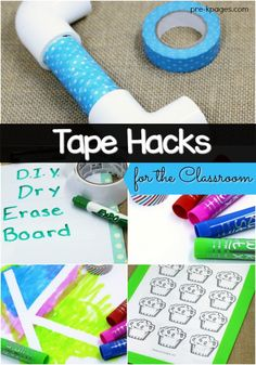 Tape Hacks for the Classroom. Super easy ideas for using duct tape and washi tape at home or in the classroom to make learning fun! - Pre-K Pages