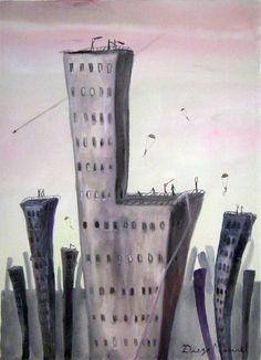 Ciudad gris 3, Painting Cityscape Artwork - Fine Art by Diego Manuel