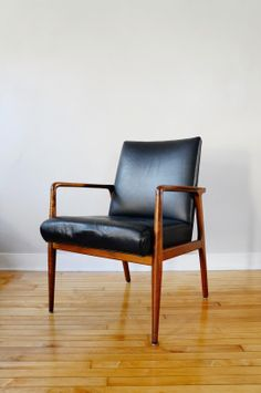 Anonymous; Walnut and Leather Armchair for Stow Davis, 1960s.