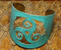 Celtic Verdigris Green Brass Cuff Bracelet Bohemian Jewelry
