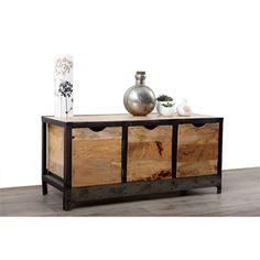 Buffet bas en bois massif et métal industriel ATELIER MILIBOO
