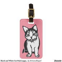 Black and White Cat Pink Luggage Tag; Abigail Davidson Art; ArtisanAbigail at Zazzle