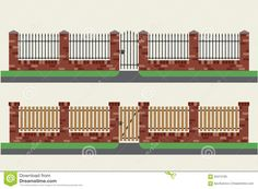 Brick Fences With Wooden And Metal. Stock Vector - Image: 63415165