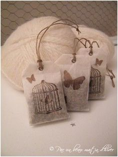 """Edit: in a brown bix/bag which says """"lavender is a flower which gives off aa scent which calms the nerves. Hang in cars, bedrooms, closets, bathrooms."""" lavender sachets with lovely stamped bags. Wouldn't they be cute hanging in the car. Lavender Bags, Lavender Sachets, Diy Projects To Try, Sewing Projects, Tea Bag Art, Scented Sachets, Little Presents, Paper Crafts, Diy Crafts"""