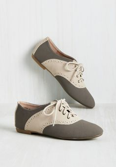 Academic Excellence Flat in Stone - Grey, Tan / Cream, Solid, Scallops, Work, Vintage Inspired, 50s, Colorblocking, Scholastic/Collegiate, Summer, Good, Lace Up, Multi, Neutral, Flat, Faux Leather, Variation