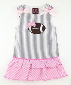 Love this Pink & Gray Stripe Football Dress - Infant & Toddler on #zulily! #zulilyfinds