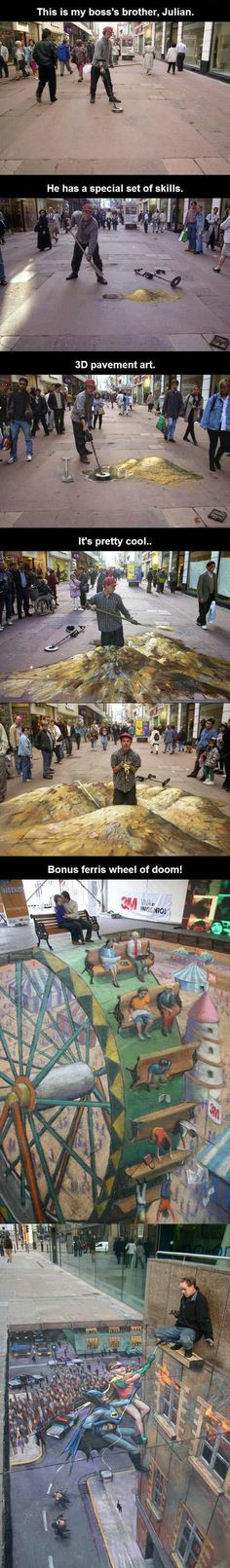 Street Art Gold Digger (Julian Beever) is part of Pavement art - More memes, funny videos and pics on Cool Pictures, Funny Pictures, Funny Pics, Random Pictures, Funny Art, Sports Pictures, Pavement Art, Sidewalk Art, Amazing Art