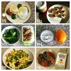 Meals today!! M1●2 eggs, russian rye bread & spinach. M2●1/2 banana w/ 1 tbsp Nutella & a tall americano from ⭐bucks. M3●1/2 cup rice with chicken and spinach. M4●orange w/ Greek yogurt. M5●zucchini w/ chicken and Trader joes balela. M6●mixed berries and coconut water. I.  Kayla's H.E.L.P guide