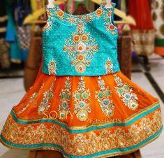 Latest Thread Work Kids Lehenga - Indian Dresses Indian Frocks, Indian Dresses, Frocks For Girls, Kids Frocks, Kids Dress Wear, Kids Wear, Lehanga For Kids, Kids Ethnic Wear, Kids Party Wear