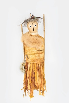 handwoven sculptured doll..hand rusted......Barbara Bussolari