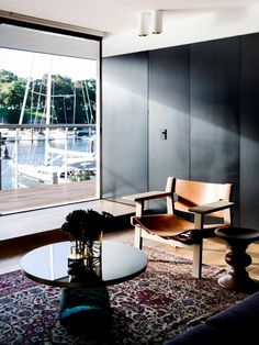 The Finger Wharf Apartment by Architect Prineas featuring the Spanish Chair designed by Børge Mogensen in 1958.