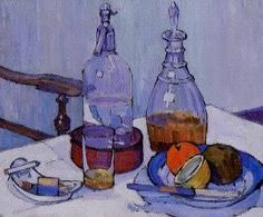 """Robert Bevan. Whisky and Soda. 1914. """"This is a rare still life by Bevan. In common with several of his Camden Town Group colleagues, Bevan's approach to still-life painting (the close-up presentation, the angled viewpoint, the casual cutting of the composition and the use of outline drawing) reveals the definite, if muted influence of Gauguin and Cezanne."""" (YCBA)"""