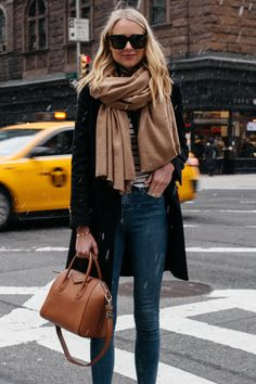 Blonde Woman Wearing Tan Scarf Black Wool Coat Striped Top Denim Skinny Jeans Givenchy Antigona Satchel Fashion Jackson Dallas Blogger Fashion Blogger Street Style