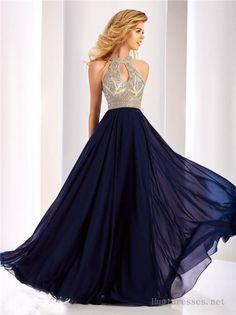2017 Bead Chiffon Halter Neck Long Prom Dresses by Clarisse 3087
