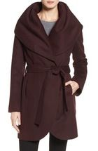 Cole Haan Signature Belted Asymmetrical Wool Blend Coat in burgundy or black size 6