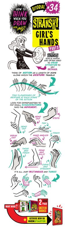 Here's the last of my special Stranski tutorials - parts 3 and 4 of how to draw FEMALE CHARACTERS' HANDS . And if you want MORE TU...
