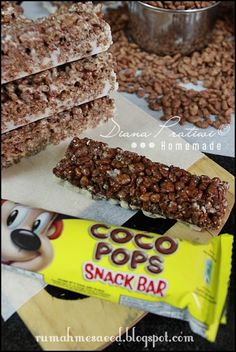 Chocolate Rice Krispies bars. Homemade and almost the same as Coco Pop snack bar.