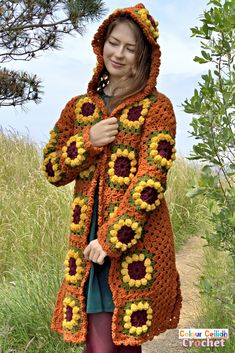 This vintage look crochet sunflower cardigan coat is long, comes with a fairy tale style hood & fun side slits. The sunflower granny square is easy to make as it's only 4 rounds. This free pattern comes in 9 sizes & includes a YouTube video tutorial. Flower Granny Square, Crochet Sunflower, Bobble Stitch, Yarn Bombing, Crochet Jacket, Coat Patterns, Shrug Sweater, Double Crochet, Free Crochet