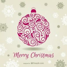 Christmas Card with Ornamental Bauble Free Vector Merry Christmas Vector, Christmas 2015, Christmas Design, Christmas Crafts, Christmas Tree, Ornaments, Xmas Cards