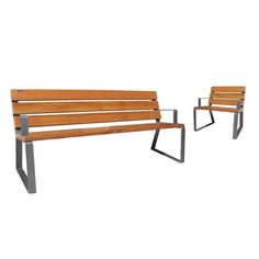 Public bench / traditional / wooden / stainless steel DAMA Ado urban