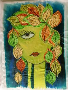 Silk painted, machine stitched 'Doodle Chick'.