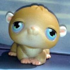 LPS#0045 (BIS) HAMSTER Variant. Light brown body, white ears and chest, pink nose and paws, blue/purple eyes with white and green dots.
