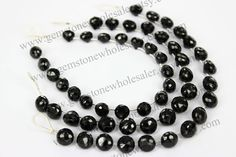 Black Spinel Faceted Onion (Quality AA) (Pack of 2 STRANDS)/ 18 cm / 16 to 18 Grms. / 7 to 9 mm / GW - 085 by GemstoneWholesaler on Etsy
