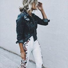 These gorgeous embroidered white jeans are a striking way to inject some colour into a two-toned outfit. _thefab3  wears these with a denim jacket to create an awesome spring style.  Brands not specified.  https://www.justthedesign.com/fashion-trends/clothing/embroidery-trend/  #fashion, #fashionista, #fashionblogger, #streetstyle, #fashionicon, #instastyle, #instafashion