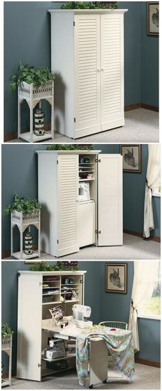ideas craft room closet sewing spaces for 2019 Decor, Furniture, Craft Room Office, Sewing Cabinet, Sewing Rooms, Home, Sewing Table, Craft Armoire, Craft Room Organization