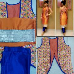 A person found for: shrugs for clothes! Finthousands of hand crafted, old, and diverse goods. Salwar Suit Neck Designs, Cotton Saree Blouse Designs, Neck Designs For Suits, Salwar Designs, Jacket Style Kurti, Jacket Dress, Batik Blazer, Kurtis With Pants, Eastern Dresses