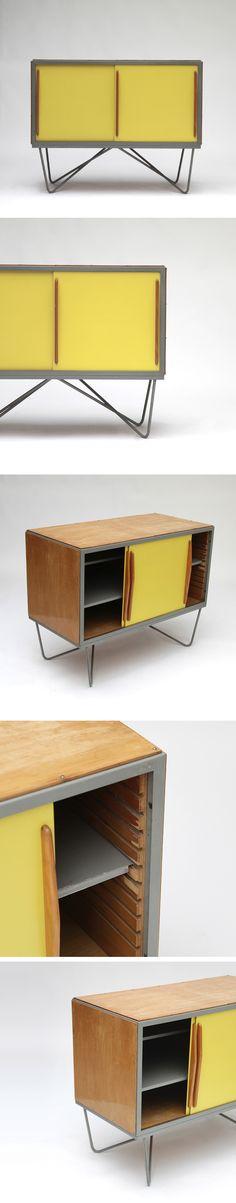 Love the internal shelf support arrangement. Willy Van Der Meeren, cabinet, 1950s, TUBAX