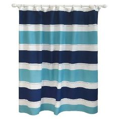Cool Rugby Stripe Shower Curtain Blue Lake - Pillowfort™ kid bathroom