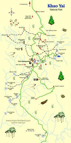 Map of Khao Yai National Park, Thailand.  Er 200 km norðaustur frá Bangkok. Þar er hægt að sjá fíla, tígra, birni, nashyrningafugla o.fl.