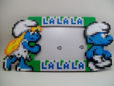 Smurfs Perler Picture Frame by YumesPixelCrafts