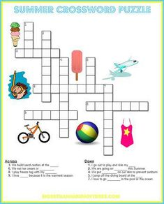 Printable worksheets for kids to do on road trips, rainy days or vacation. Summer themed printables for kids to enjoy. Crossword printable for kids. Summer Worksheets, Free Printable Worksheets, Worksheets For Kids, Free Printables, Kids Crossword Puzzles, Word Puzzles For Kids, Free Summer Kids Activities, Color Activities, Youth Activities