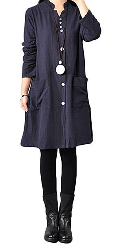 Soojun Women's Stand Collar Cotton Linen Button up Tunic Shirts, Navy, Large