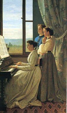 Silvestro Lega.Il canto dello stornello. 1867 Olio su tela. 158x98cm. Firenze, Galleria D'Arte Moderna
