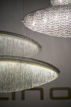 Handmade crystal and steel pendant lamp SILK - @manooi