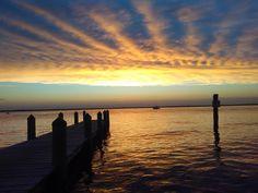 Ocean beach, New Jersey. Sunset at the bay.
