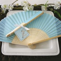 Silk Aqua Blue Wedding Fan