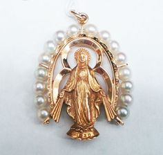LADIES 14K YELLOW GOLD PIERCED MIRACULOUS MEDAL WITH PEARLS PENDANT #Pendant
