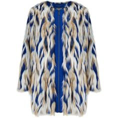 Grace & Oliver Kiera Faux Fur Coat, Cobalt found on Polyvore featuring outerwear, coats, faux fur, fur, olive coat, zip coat, blue faux fur coat, blue slip and long sleeve coat