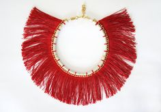 Ruby Red Fringe Collar by HearsayDesigns on Etsy, $78.00