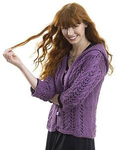 Free Pattern: Cables & Eyelet Hooded Cardi by Darlene Dale