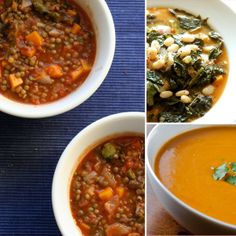 Warm Up With These 300-Calorie Bowls of Homemade Soup; watch the sodium count...use low sodium/no sodium stock when possible, and rinse all canned beans!