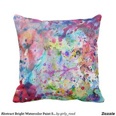 Abstract Bright Watercolor Paint Splatters Pattern